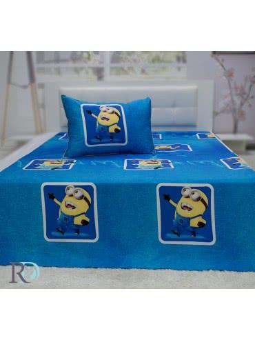 Роксима Дрийм Памучен сатен Спален комплект Миньони 3