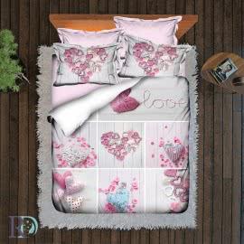 Роксима Дрийм Памучен сатен Спален комплект 3D Pink Heart