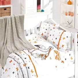 First Choice Бамбук Спален комплект с одеяло Щъркел Оранжево