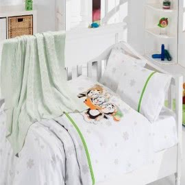 First Choice Бамбук Спален комплект с одеяло Пингвини Зелено