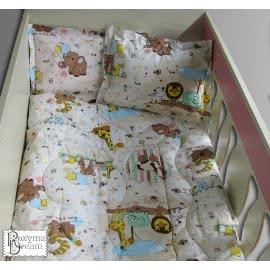 Роксима Дрийм Ранфорс Бебешки спален комплект Зоопарк бежово