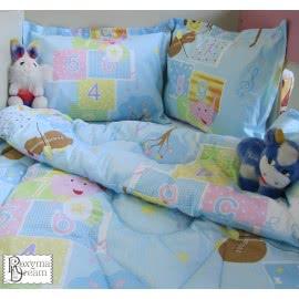 Роксима Дрийм Ранфорс Бебешки спален комплект Мече с цигулка синьо